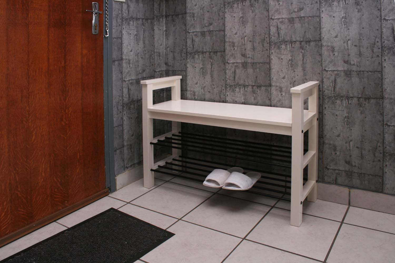 Bench with shoe rack in lobby